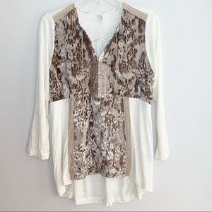 Anthropologie Tiny Velvet and Sequins Boho Top S